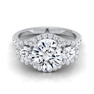 14k White Gold IGI-cert 1 3/4ct TDW Round 3-stone Engagement Ring