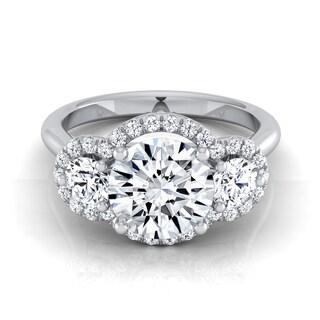 14k White Gold 1 1/2ct TDW Round 3-stone Semi-halo Diamond Engagement Ring