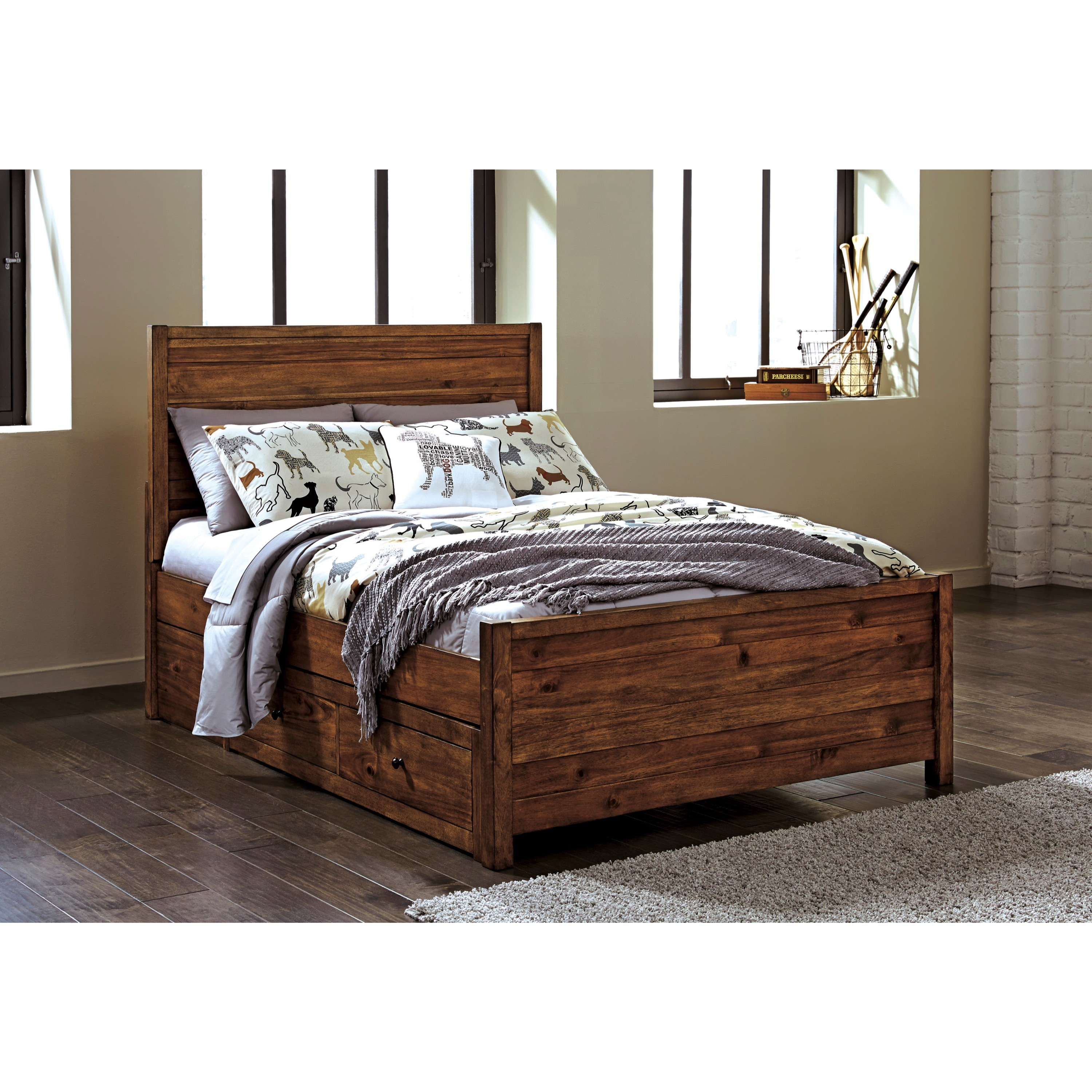 Ashley Fennison Light Brown Twin Panel Bed (Twin Panel Bed)