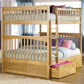 Columbia Full over Full Bunk Bed with Flat Panel Bed Drawers in Natural