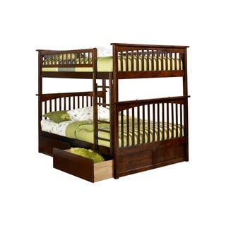 Columbia Full over Full Bunk Bed with Flat Panel Bed Drawers in Walnut