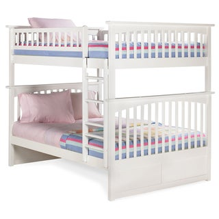 Columbia Full over Full Bunk Bed with Flat Panel Bed Drawers in White