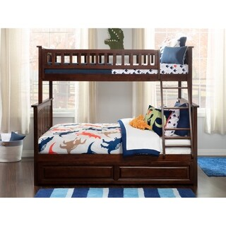 Columbia Bunk Bed Twin over Full with Twin Size Raised Panel Trundle Bed in Walnut