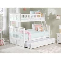 Columbia Twin over Full Bunk Bed with Raised Panel Trundle Bed in White
