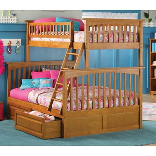Columbia Twin over Full Bunk Bed with Raised Panel Bed Drawers in Caramel Latte