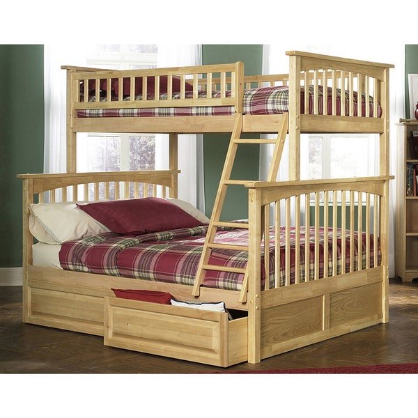 Atlantic Furniture Columbia Twin over Full Bunk Bed with Raised Panel Bed Drawers in a Natural Finish