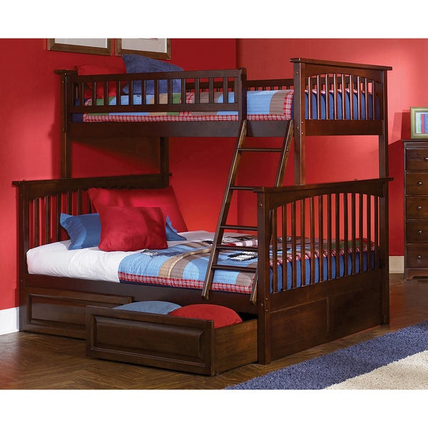 Columbia Twin Over Full Bunk Bed With Raised Panel Bed Drawers In