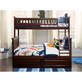 Columbia Twin over Full Bunk Bed with Raised Panel Bed Drawers in Walnut