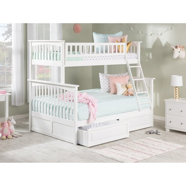 Columbia Bunk Bed Twin over Full with 2 Raised Panel Bed Drawers in White