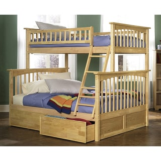 Columbia Twin over Full Bunk Bed with Flat Panel Bed Drawers in Natural
