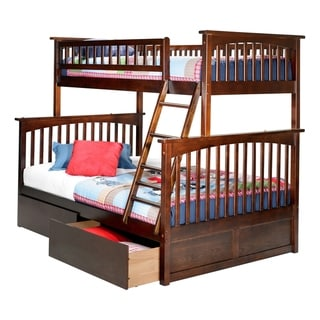 Columbia Twin over Full Bunk Bed with Flat Panel Bed Drawers in Walnut