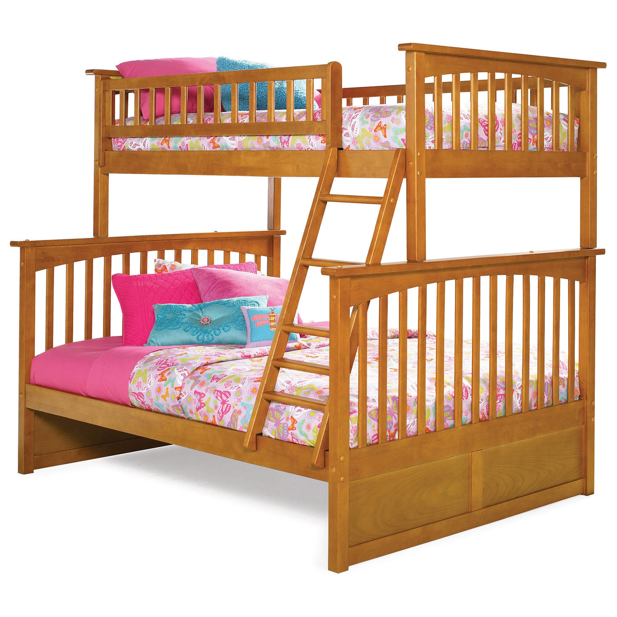 Atlantic Furniture Columbia Twin over Full Bunk Bed in Ca...