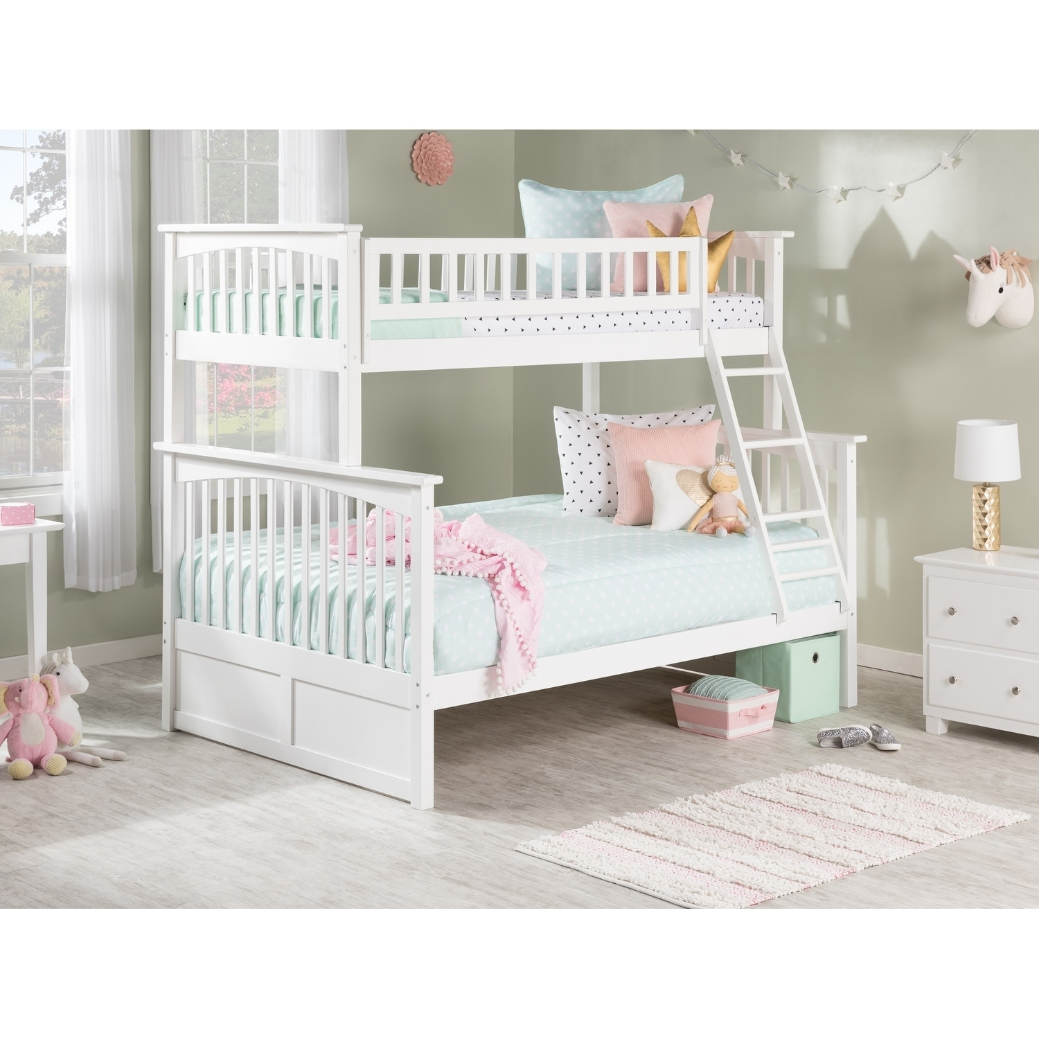Atlantic Furniture Columbia Twin over Full Bunk Bed in Wh...