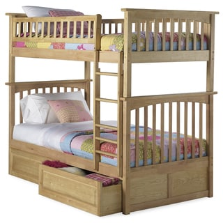 Columbia Twin over Twin Bunk Bed with Raised Panel Bed Drawers in Natural