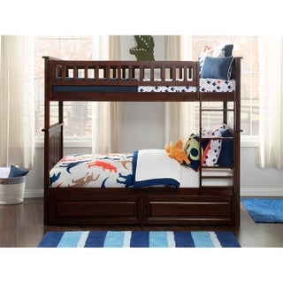 Columbia Bunk Bed Twin over Twin with 2 Raised Panel Bed Drawers in Walnut