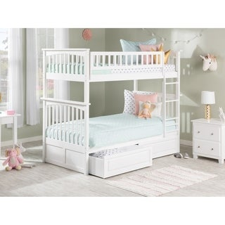 Columbia Bunk Bed Twin over Twin with 2 Raised Panel Bed Drawers in White