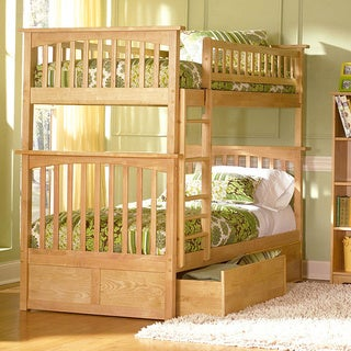 Columbia Bunk Bed Twin over Twin with Flat Panel Bed Drawers in Natural
