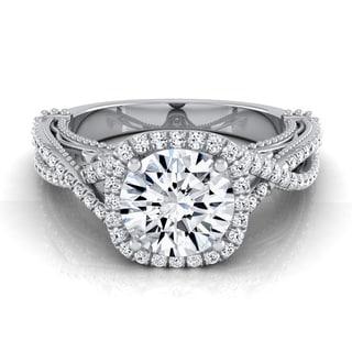 14k White Gold 1 1/3ct TDW Round Diamond Halo Infinity Engagement Ring (H-I, VS1-VS2)