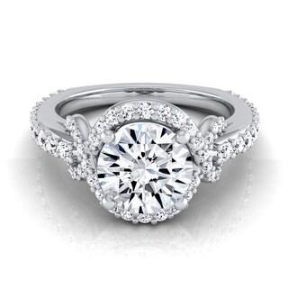 14k White Gold 1 5/8 ct TDW Diamond IGI-certified Engagement Ring With Love Knot Shank ( H-I, VS1-VS2)