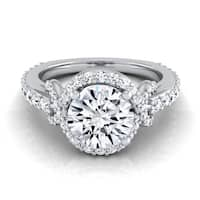 14k White Gold 1 5/8 ct TDW Diamond IGI-certified Engagement Ring With Love Knot Shank