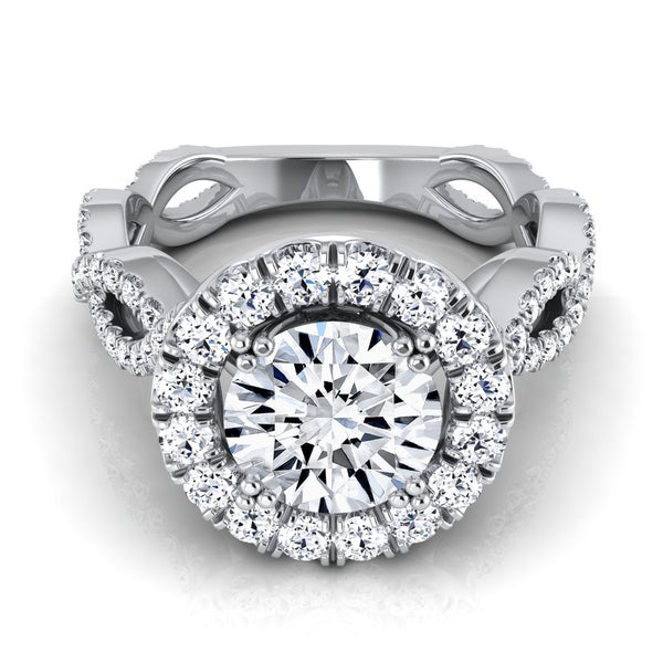 9d364bc21 14k White Gold IGI-certified 1 4/5ct TDW Round Diamond Halo Engagement Ring