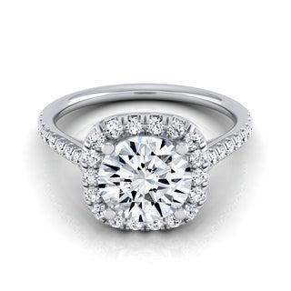 14k White Gold 1 1/3ct TDW Round Diamond Halo Engagement Ring (H-I, VS1-VS2)