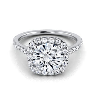 14k White Gold 1 1/3ct TDW Diamond IGI-certified Halo Engagement Ring With Pave Shank