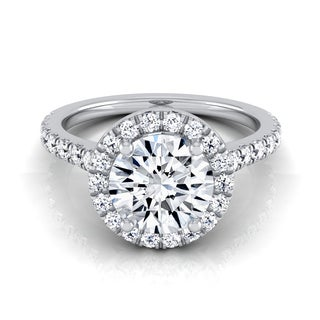 14k White Gold 1 3/8ct TDW Round Diamond Round Halo Engagement Ring