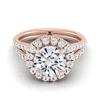 14k Rose Gold IGI-certified 1 2/3ct TDW Round Diamond Halo Engagement Ring With A Split Shank (H-I,VS1-VS2)
