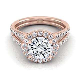 14k Rose Gold 1 7/8ct TDW Round Diamond Halo Engagement Ring (H-I, VS1-VS2)