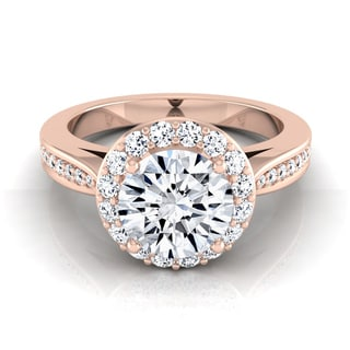 14k Rose Gold 1 2/5ct TDW Diamond IGI-certified Halo Engagement Ring With Pave Shank ( H-I, VS1-VS2)