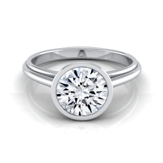 14k White Gold Certified 1ct Diamond Bezel Solitaire Engagement Ring