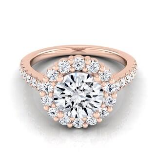 14k Rose Gold 1 5/8ct TDW Diamond IGI-certified Halo Engagement Ring With Pave Shank ( H-I, VS1-VS2)