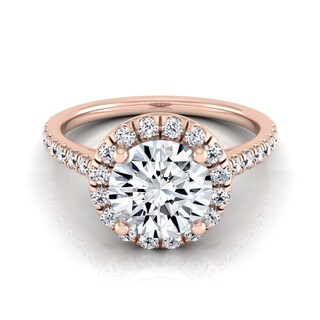 14k Rose Gold Certified Round Diamond Halo Engagement Ring