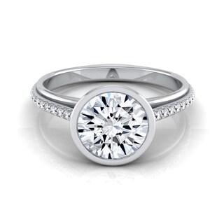 14k White Gold 1 1/10ct TDW Diamond IGI-certified Bezel Solitaire Engagement Ring With Pave Shank ( H-I, VS1-VS2)