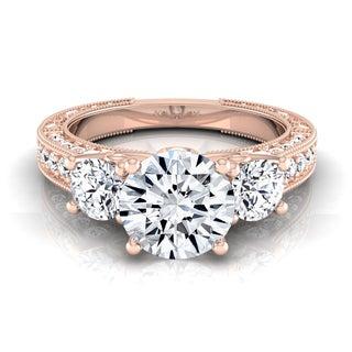14k Rose Gold IGI-certified 1 7/8ct TDW Round 3-Stone Engagement Ring (H-I, VS1-VS2)