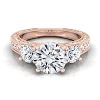 14k Rose Gold IGI-certified 1 7/8ct TDW Round 3-Stone Engagement Ring
