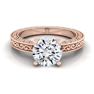 14k Rose Gold 1ct TDW Diamond IGI-certified Scroll Detail Shank Solitaire Engagement Ring
