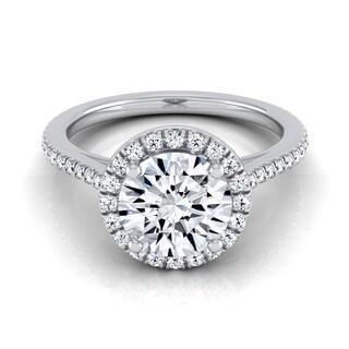 14k White Gold IGI-certified 1 1/4ct TDW Round Diamond Halo Engagement Ring with Graduated Pave Shank (H-I,VS1-VS2)