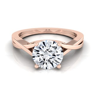 14k Rose Gold 1ct TDW Diamond IGI-certified Solitaire Engagement Ring With Cathedral Setting