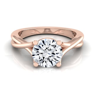 14k Rose Gold IGI-certified 1ct TDW Round Diamond Solitaire Engagement Ring