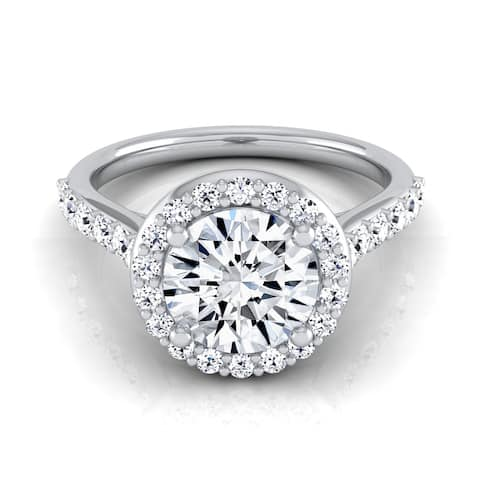 14k White Gold 1 1/2ct TDW Round Diamond Halo Engagement Ring