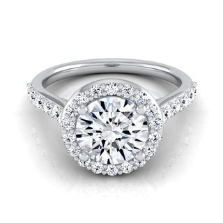 14k White Gold 1 1/2ct TDW Round Diamond Halo Engagement Ring (More options available)