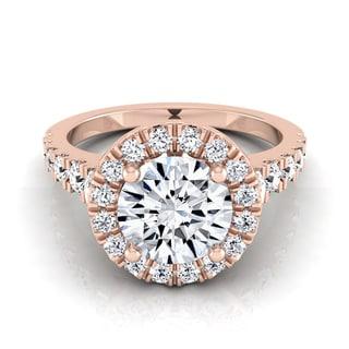 14k Rose Gold 1 2/3ct TDW Round Diamond Halo Engagement Ring (H-I, VS1-VS2)