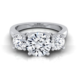 14k White Gold 1 2/3ct TDW Round 3-stone Engagement Ring