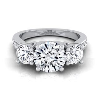 14k White Gold 1 7/8ct TDW Round 3-stone Engagement Ring