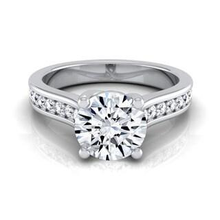 14k White Gold IGI-certified 1 1/3ct TDW Round Diamond Solitaire Engagement Ring (H-I, VS1-VS2)