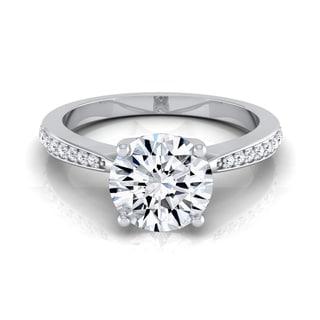 14k White Gold 1 1/8ct TDW Diamond IGI-certified Pave Shank Solitaire Engagement Ring (H-I, VS1-VS2)
