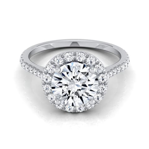14k White Gold 1 3/8ct TDW Round Diamond Halo Engagement Ring