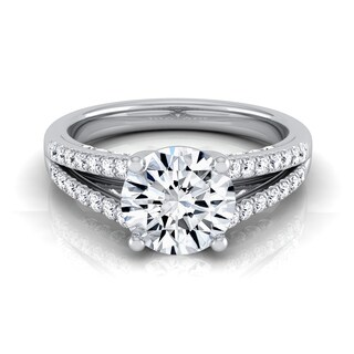 14k White Gold 1 1/3ct TDW Round Diamond Split Shank Engagement Ring (H-I, VS1-VS2)